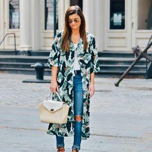 Rachel Zoe palm print kimono duster